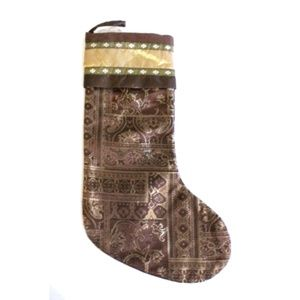 Christmas Stocking Brown Gold Tapestry 18""